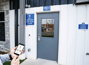 Smart lock on warehouse door